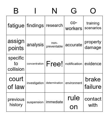 Lawyer Bingo Card