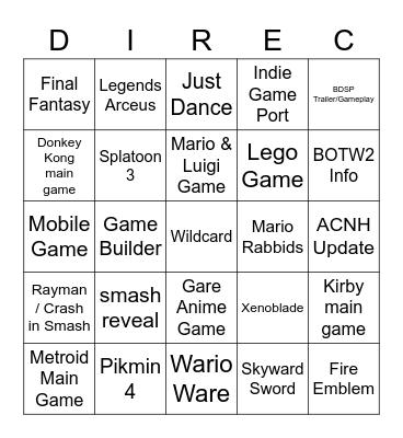 Switch Bingo Card