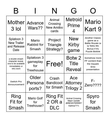 Swanna's Nintendo E3 Bingo Card