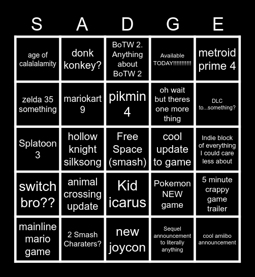 Nintedo Dirct 6/15 Bingo Card