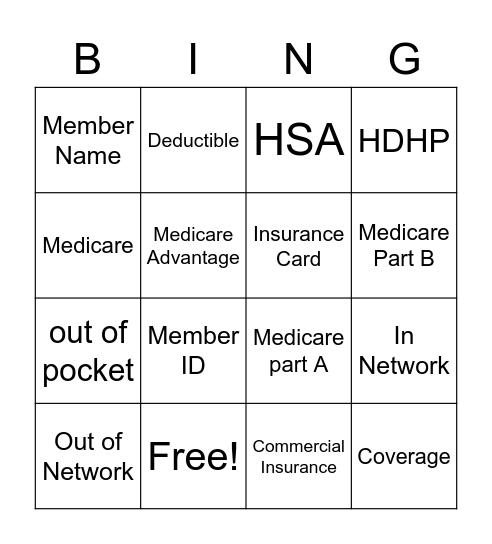 Health Insurance Bingo Card