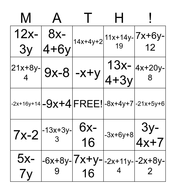 Math-Go! Bingo Card