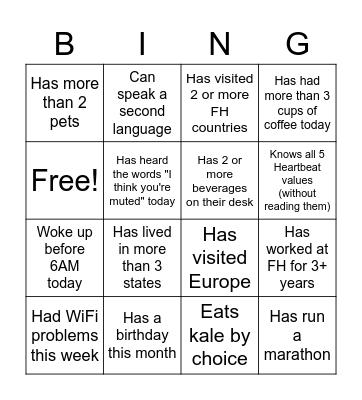 Marketing Team Bingo Card