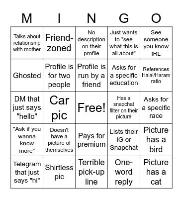Minder/Salams Bingo Card