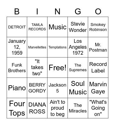 MOTOWN Bingo Card