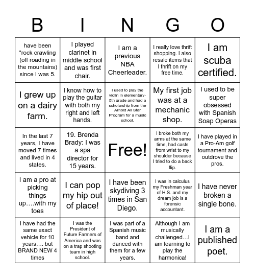 Get to Know ME! Bingo Card
