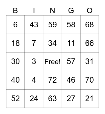 Game Day in the Park - BINGO Card