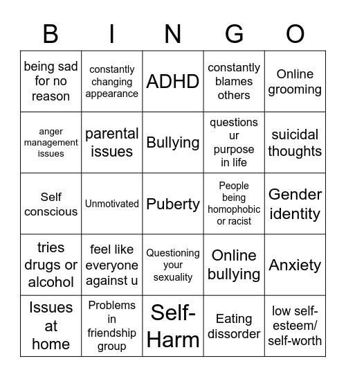 mental health issues bingo Card