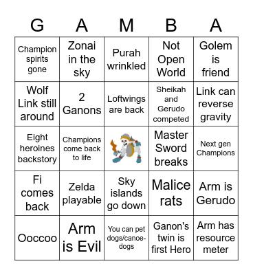 BOTW 2 Bingo Card