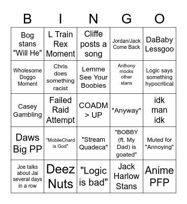 Logic Server Bingo Card