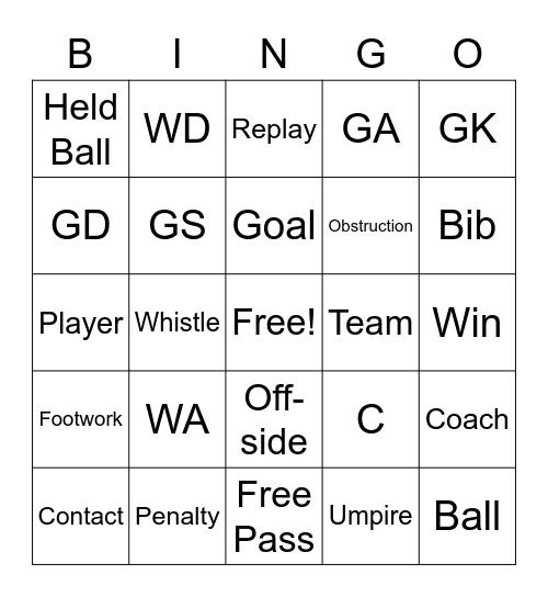 Netball Bingo Card