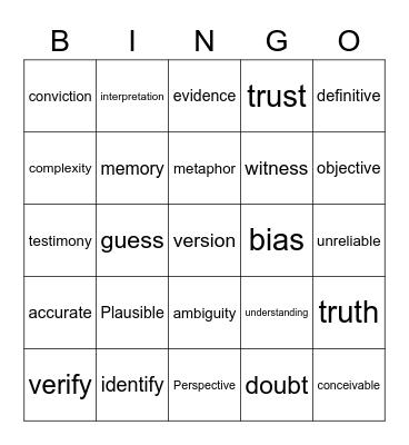 Ambiguity Bingo! Bingo Card