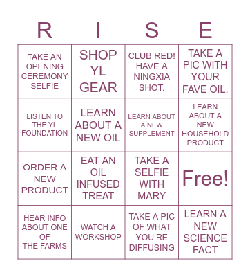 YL CONVENTION 2021 Bingo Card