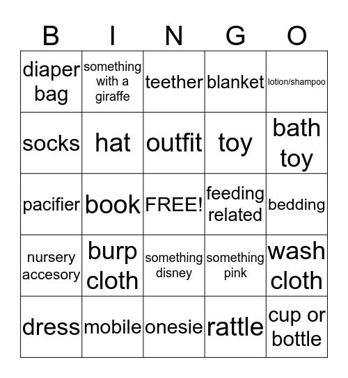 Hall Baby Shower Bingo Card