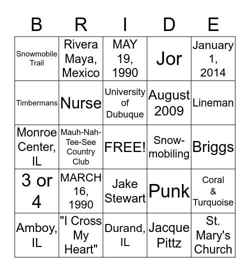 BRIDAL BINGO Card