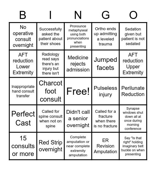 2021-22 Trauma Call Bingo Card