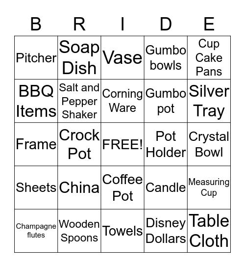 Bride Bingo Card