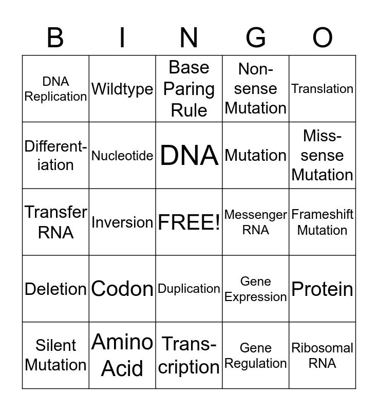 Molecular Genetics Bingo Card