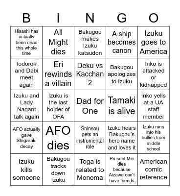 My Hero Academia Predictions Bingo Card