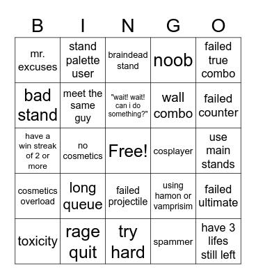 n the jojo game bingo board Bingo Card