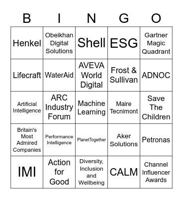 AVEVA Bingo Card