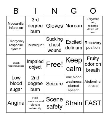 First responder Bingo Card