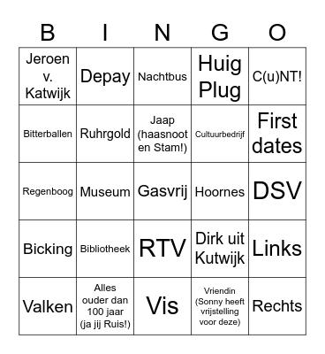 katwijkse Verboden woorden Twitter Bingo Card