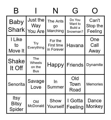 GUESS THE SONG Bingo Card