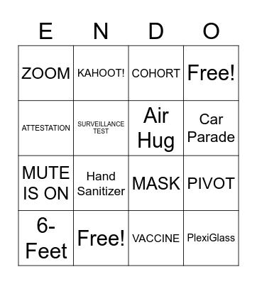 "Newman End of Year ""ENDO"" Bingo Card"