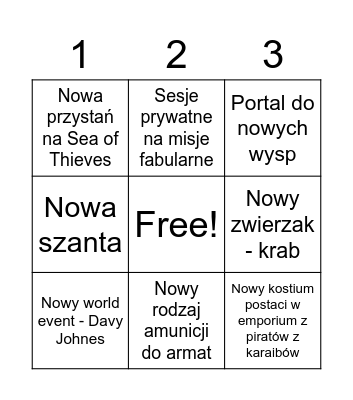 Sea of Thieves Season 3 Bingo Card