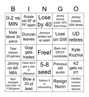 "Heat ""of course"" bingo 2021-22 season Bingo Card"