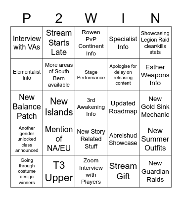 LOA On Mini 19/6/2021 Bingo Card