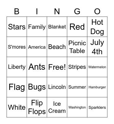 July 4th Bingo Card