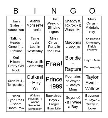 DISH Music Video Bingo Round 1 Bingo Card