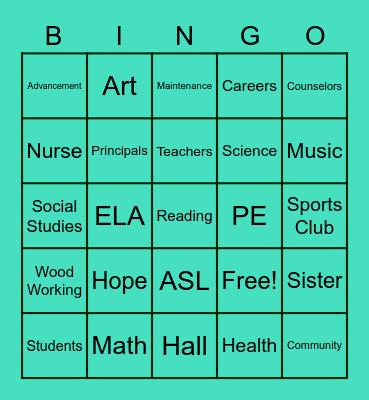 Hope Hall School Bingo Card