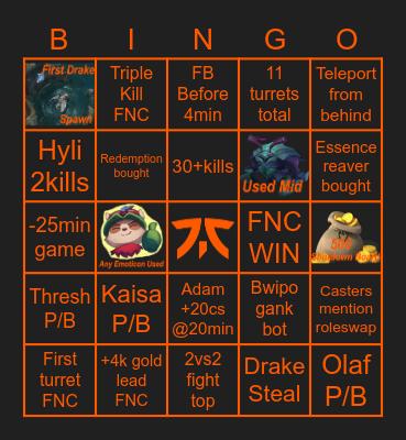 FNC vs Vitality Bingo Card