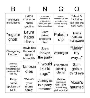 Critical Role C3 Bingo Card