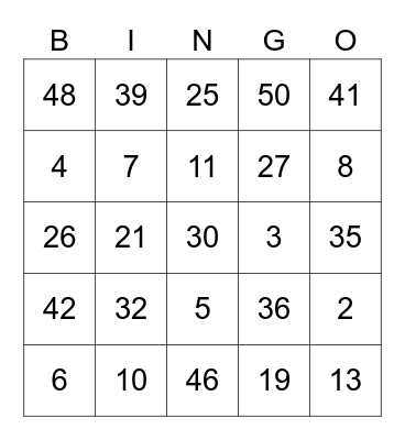 Social Bingo! Bingo Card