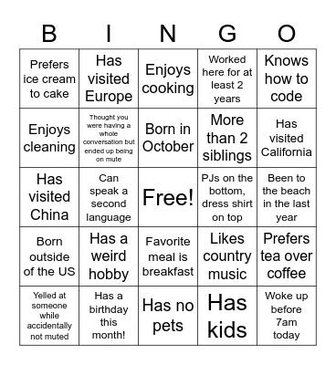 Grey/Lilly Bonding BINGO Card