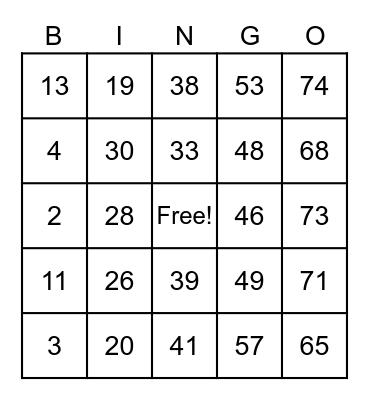 Traditional Bingo Card