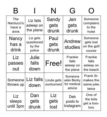 Vacation! Bingo Card