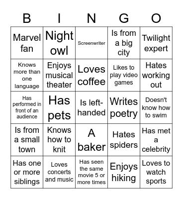 BTL Bingo Card