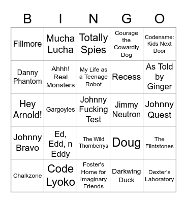 Cartoon Reboot Bingo Card