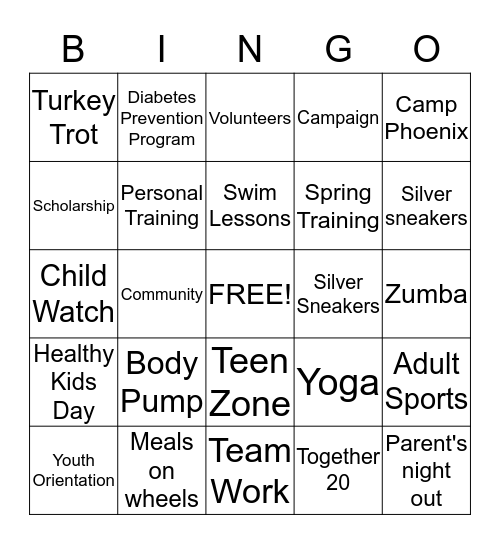YMCA Fun Bingo Card