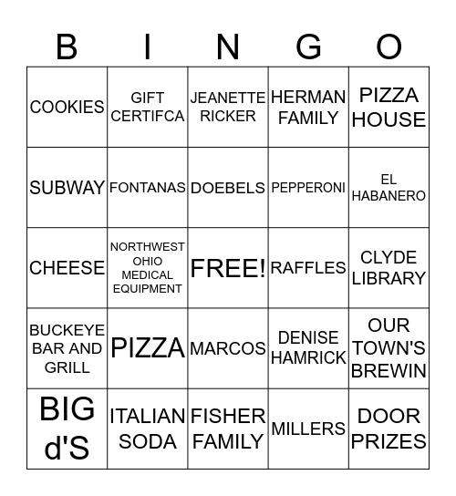 PIZZA PARTY BINGO Card