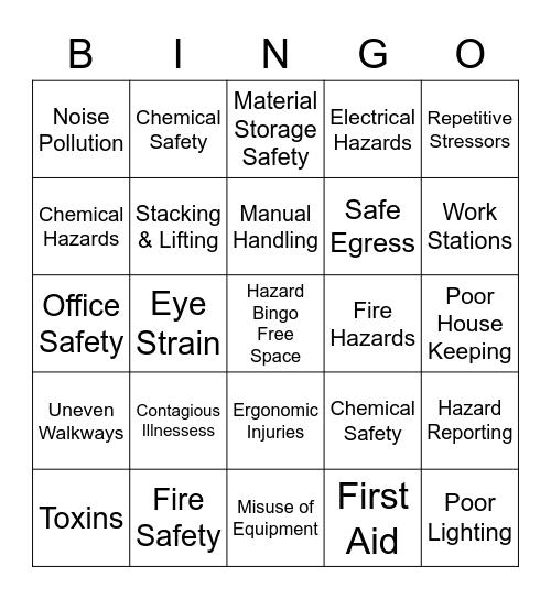 International Paper Hazard Safety Bingo Card