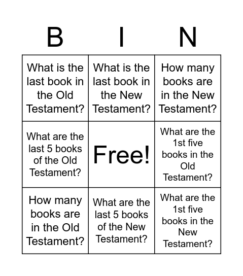 Bible Bingo -- Round 1: Books of the Bible Bingo Card