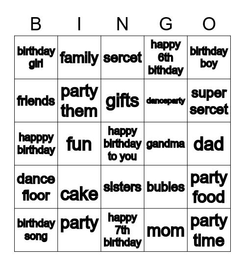 birthday bingo Card
