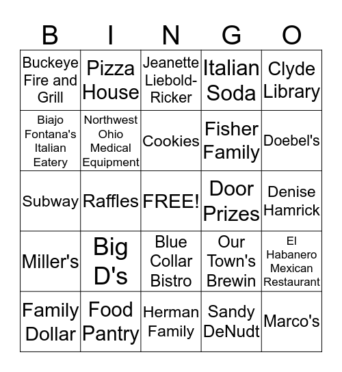 Pizza Party for the Pantry Bingo Card