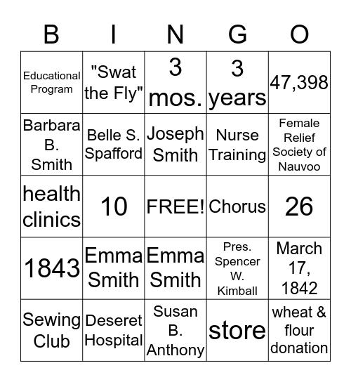 Relief Society Bingo - Looking Back Bingo Card